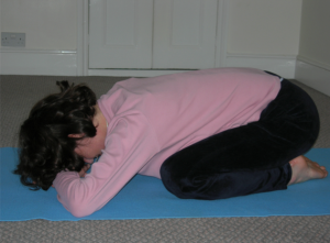 Child's Pose Balasana/Pranatasana As you exhale, allow the active weight of the pelvis to lengthen the spine through from the shoulders, the upper back, the waist - to the tailbone Be comfortable with the sacred space within yourself